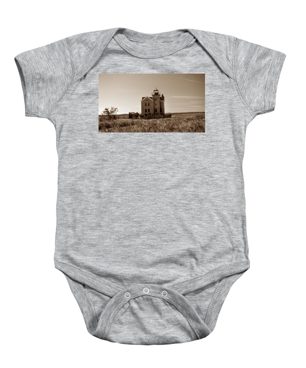Ny Baby Onesie featuring the photograph Cedar Island Lighthouse by Skip Willits