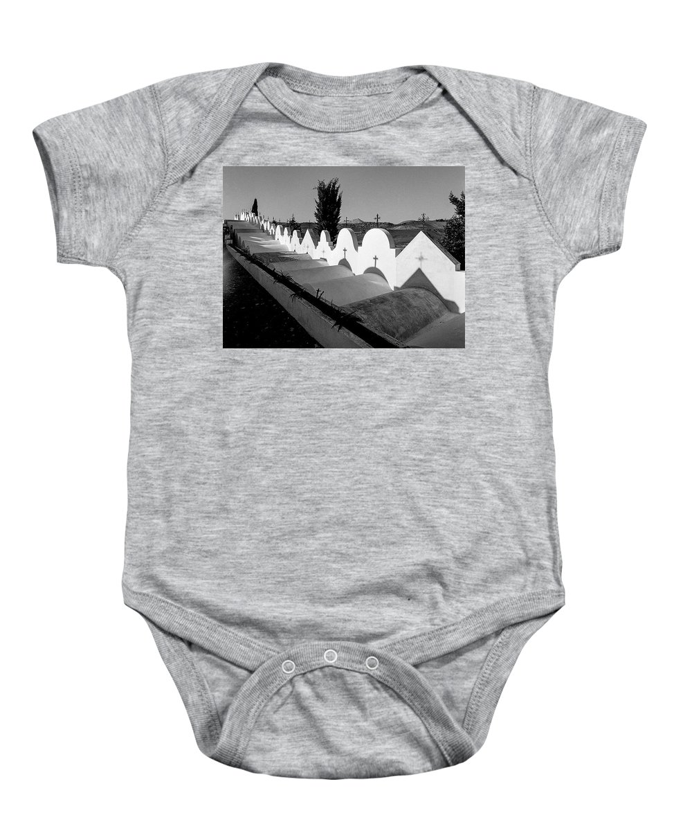 Cemetery In Casabermeja Baby Onesie featuring the photograph Cemetery Spain Three by Mike Penney