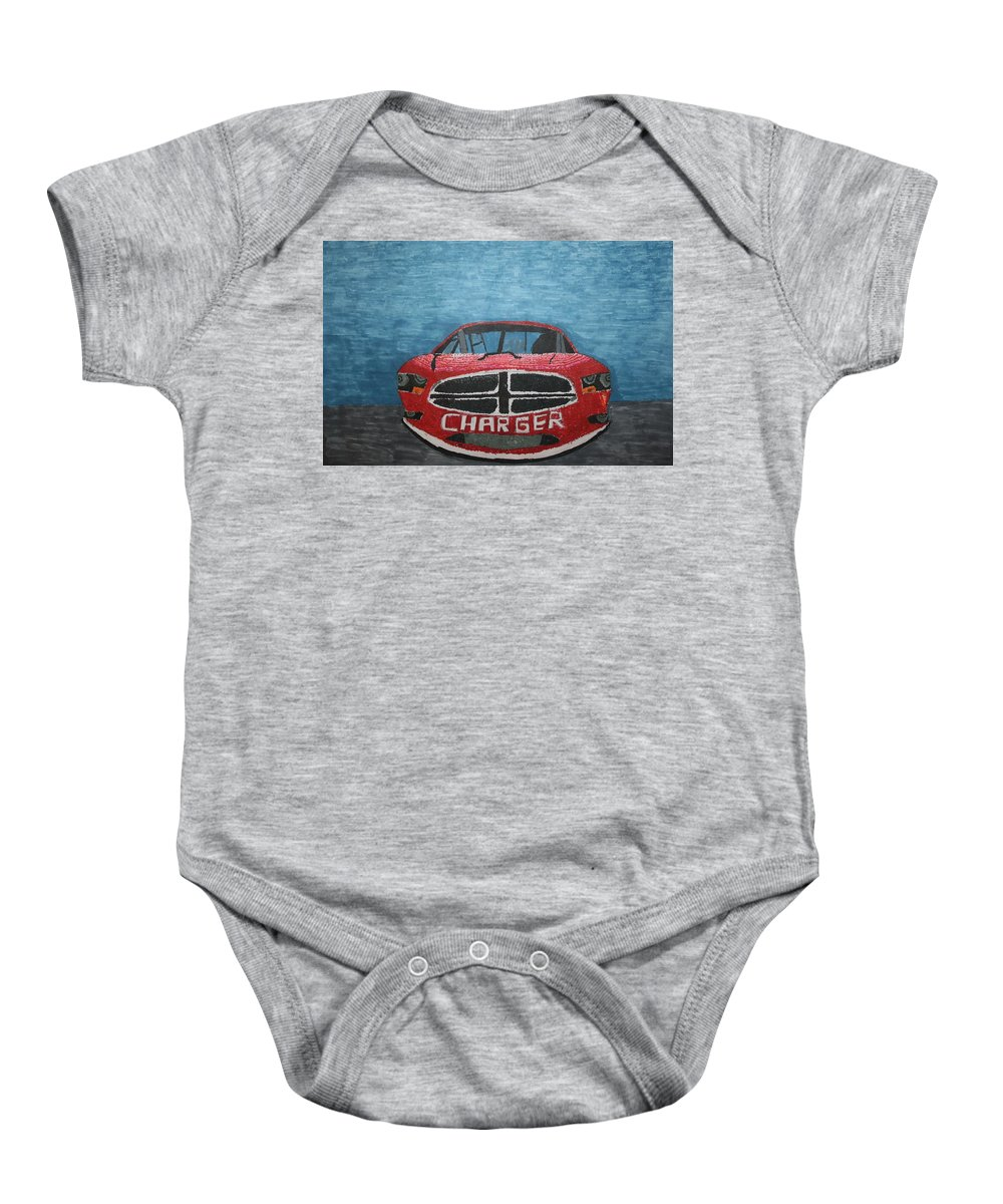 Car Baby Onesie featuring the drawing Charger Art By My Son by Stacy C Bottoms