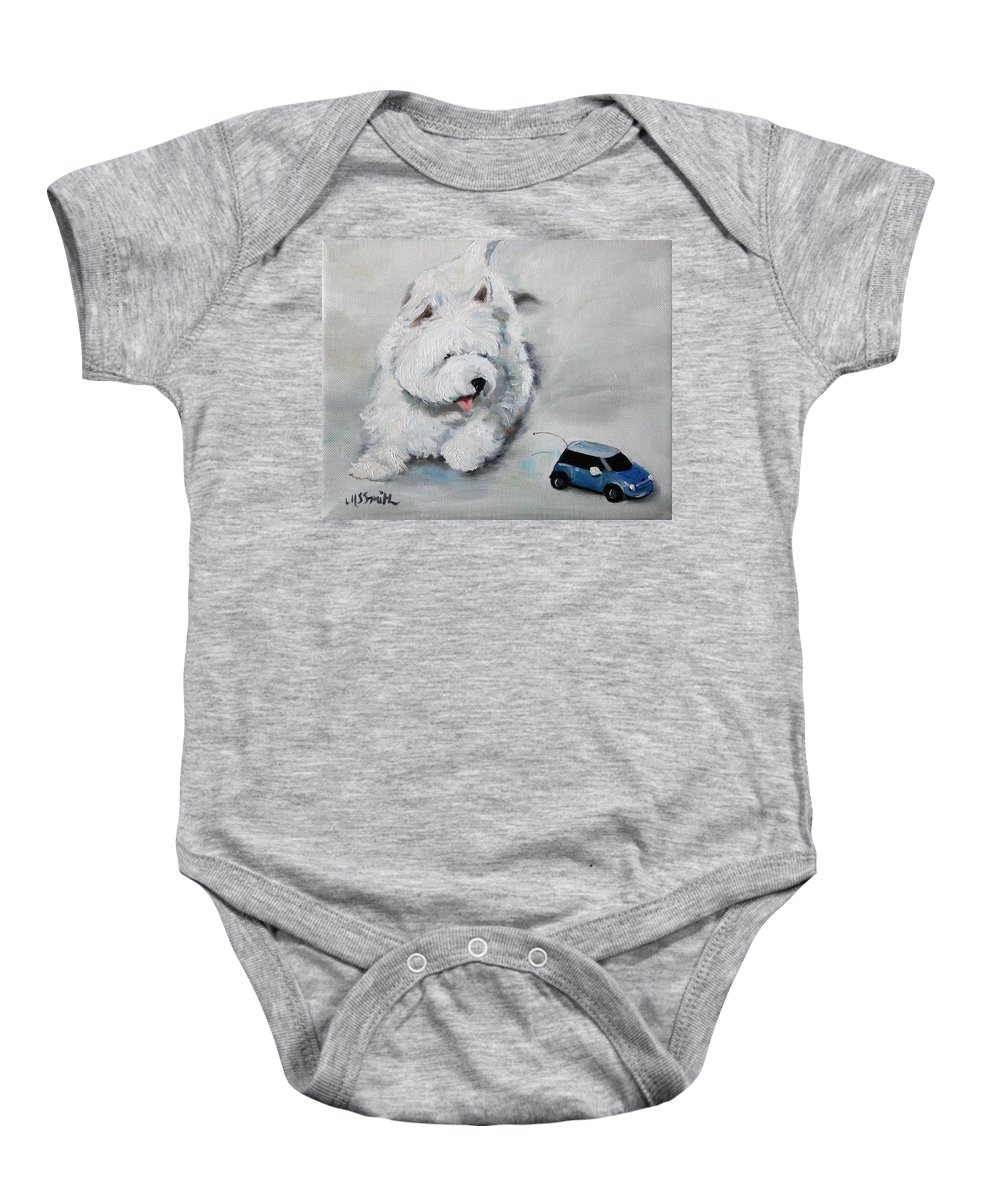 Art Baby Onesie featuring the painting Chasing Cars by Mary Sparrow