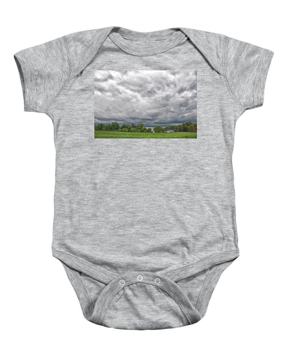 Chautauqua Lake Baby Onesie featuring the photograph Chautauqua Lake Clouds 8625 by Guy Whiteley