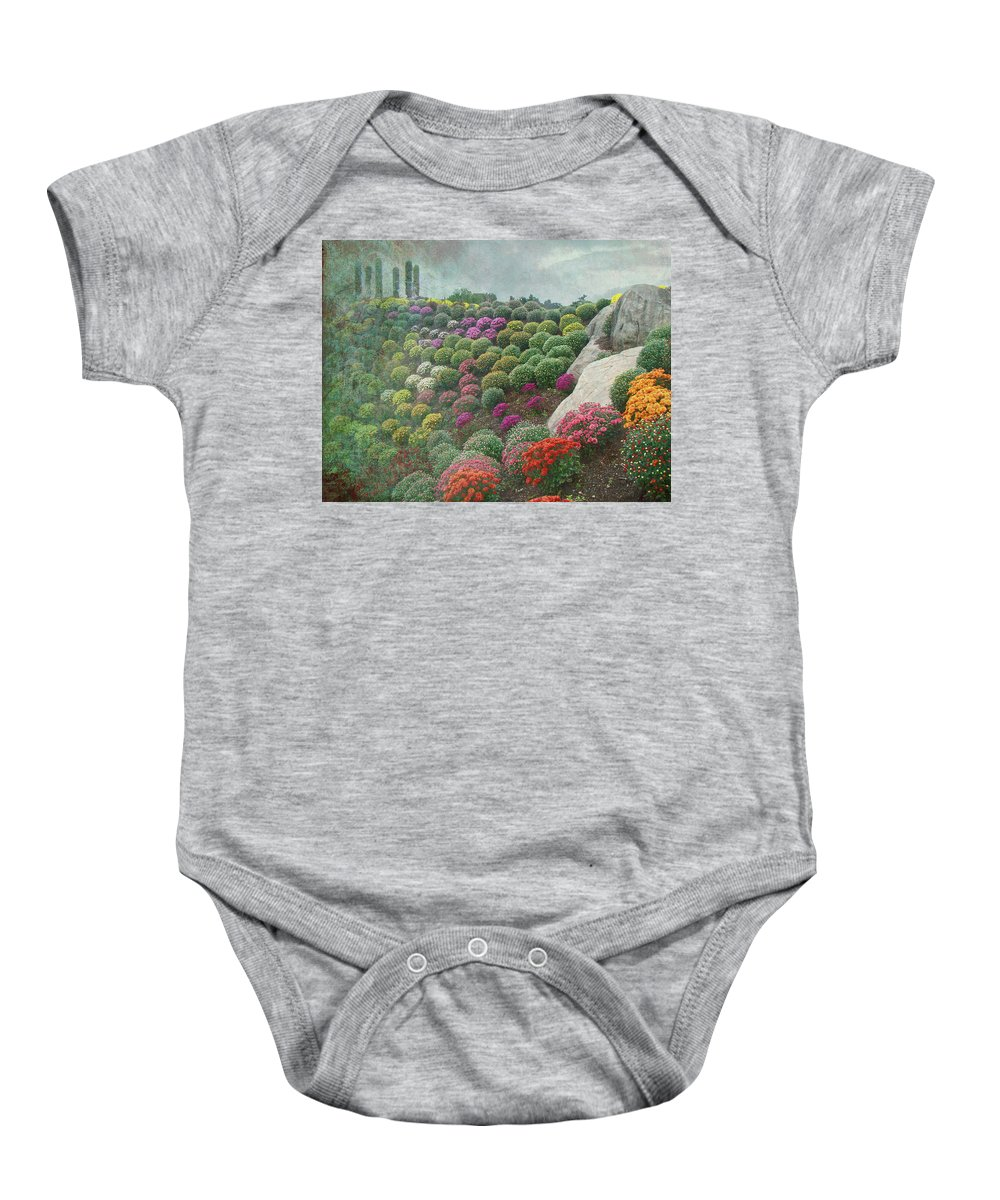 Chrysanthemum Baby Onesie featuring the photograph Chrysanthemum Garden - Ott's Greenhouse Schwenksville Pa by Mother Nature