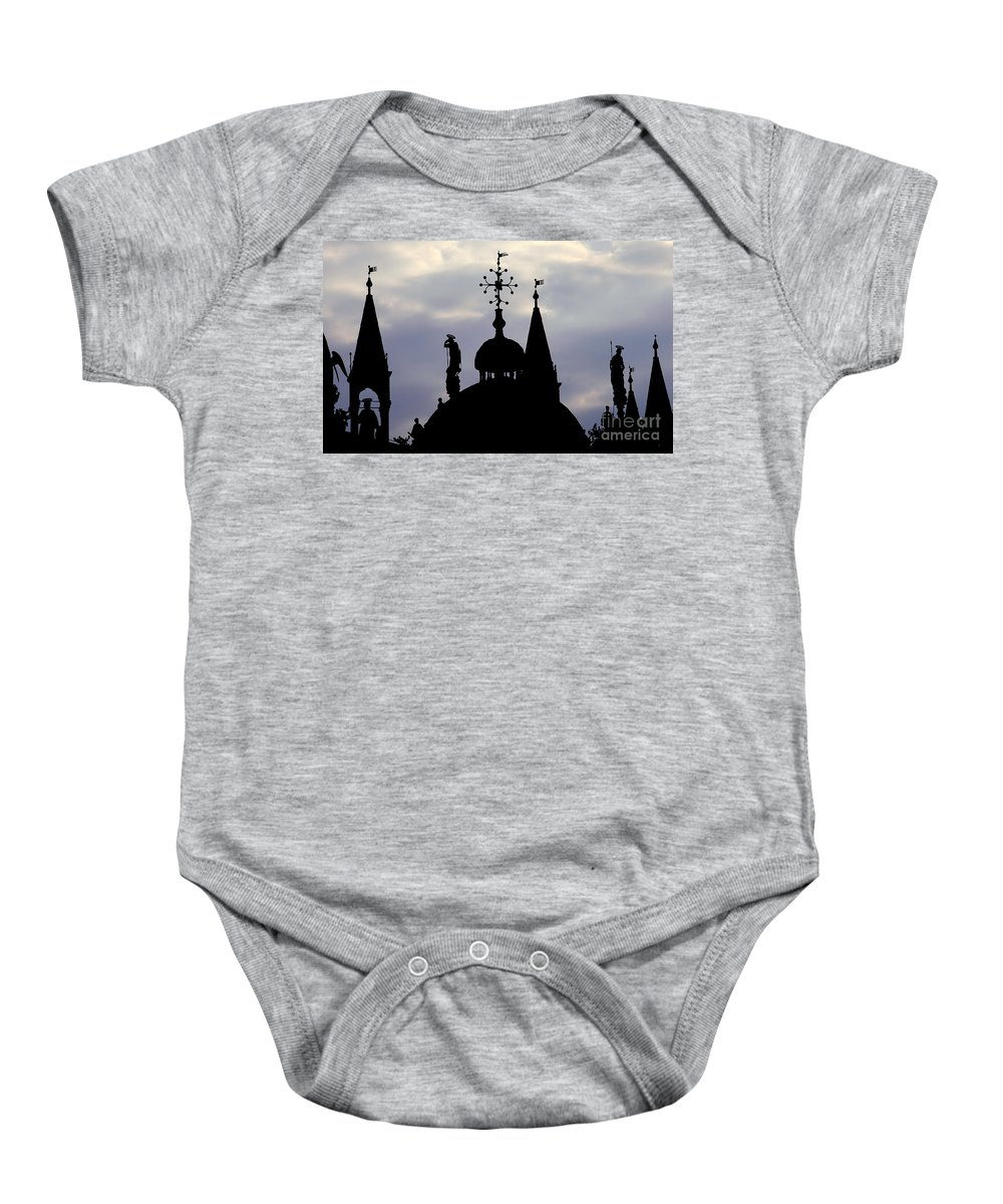 Church Baby Onesie featuring the photograph Church Spires Silhouettes by Mike Nellums