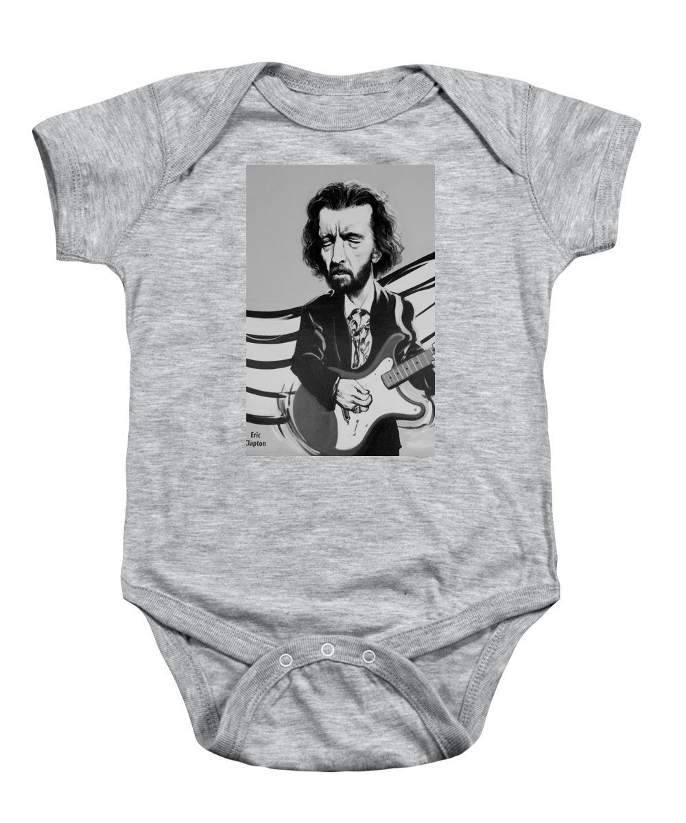 Eric Clapton Baby Onesie featuring the photograph Clapton In Black And White by Rob Hans
