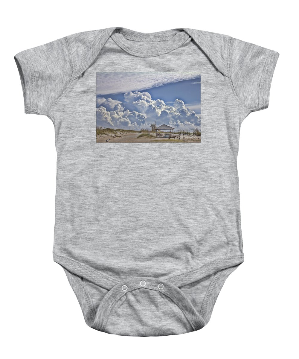 Beach Baby Onesie featuring the photograph Cloud Merge by Deborah Benoit