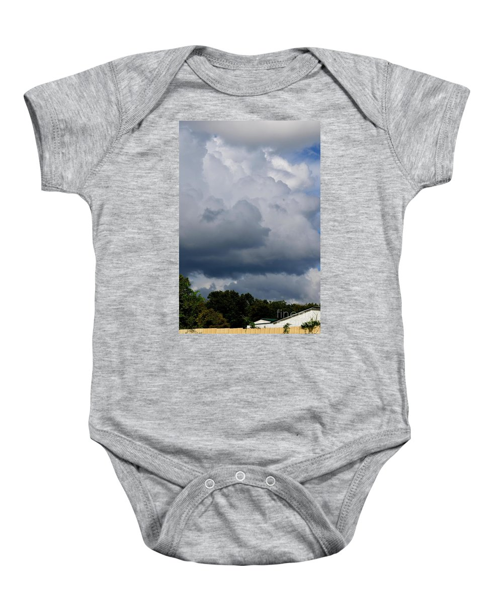Clouds Baby Onesie featuring the photograph Clouds Of Thunder by Maria Urso