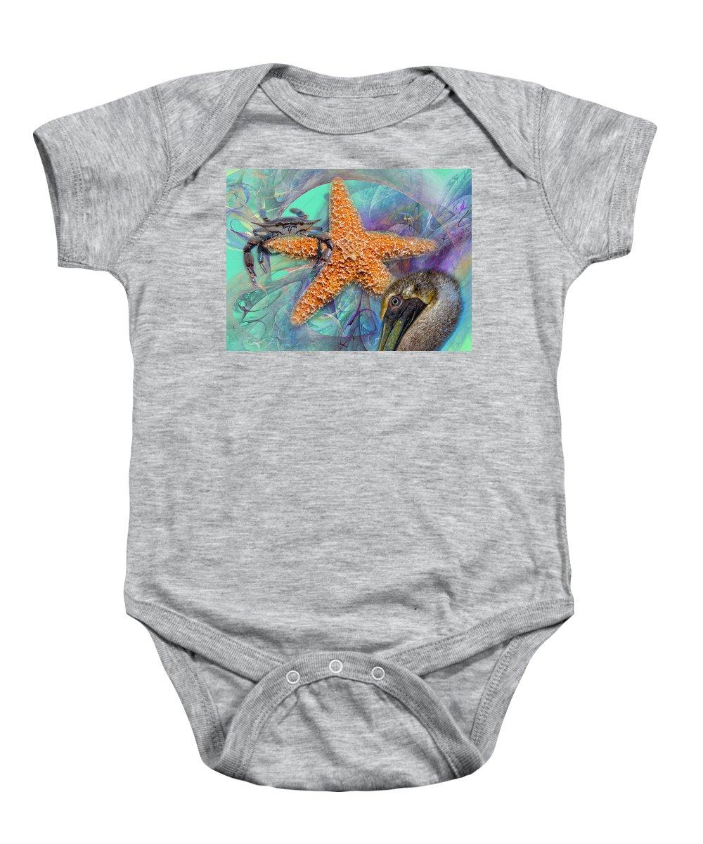 Starfish Baby Onesie featuring the digital art Coastal Life I by Betsy Knapp