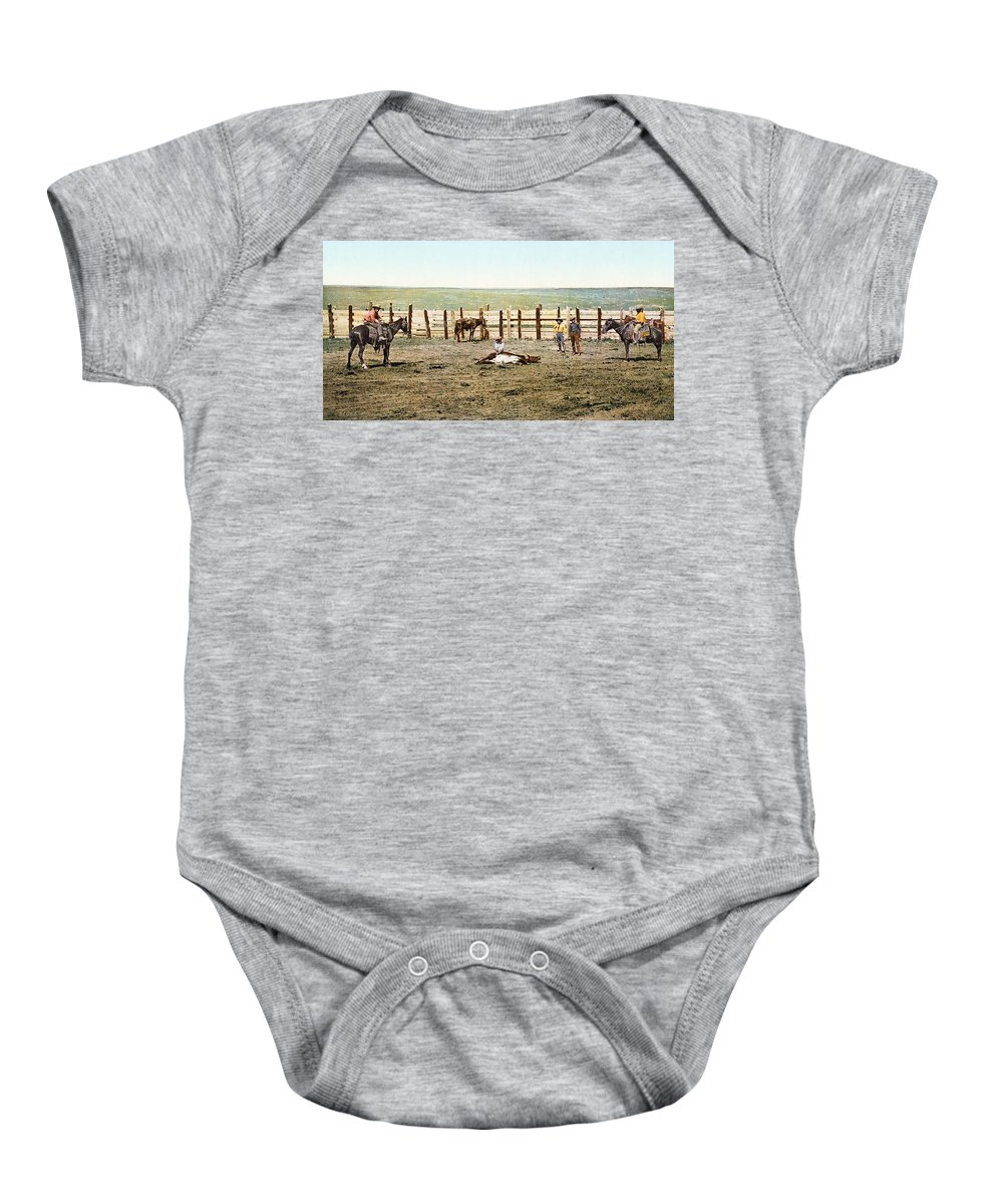 1890s Baby Onesie featuring the photograph Colorado: Roping A Steer by Granger