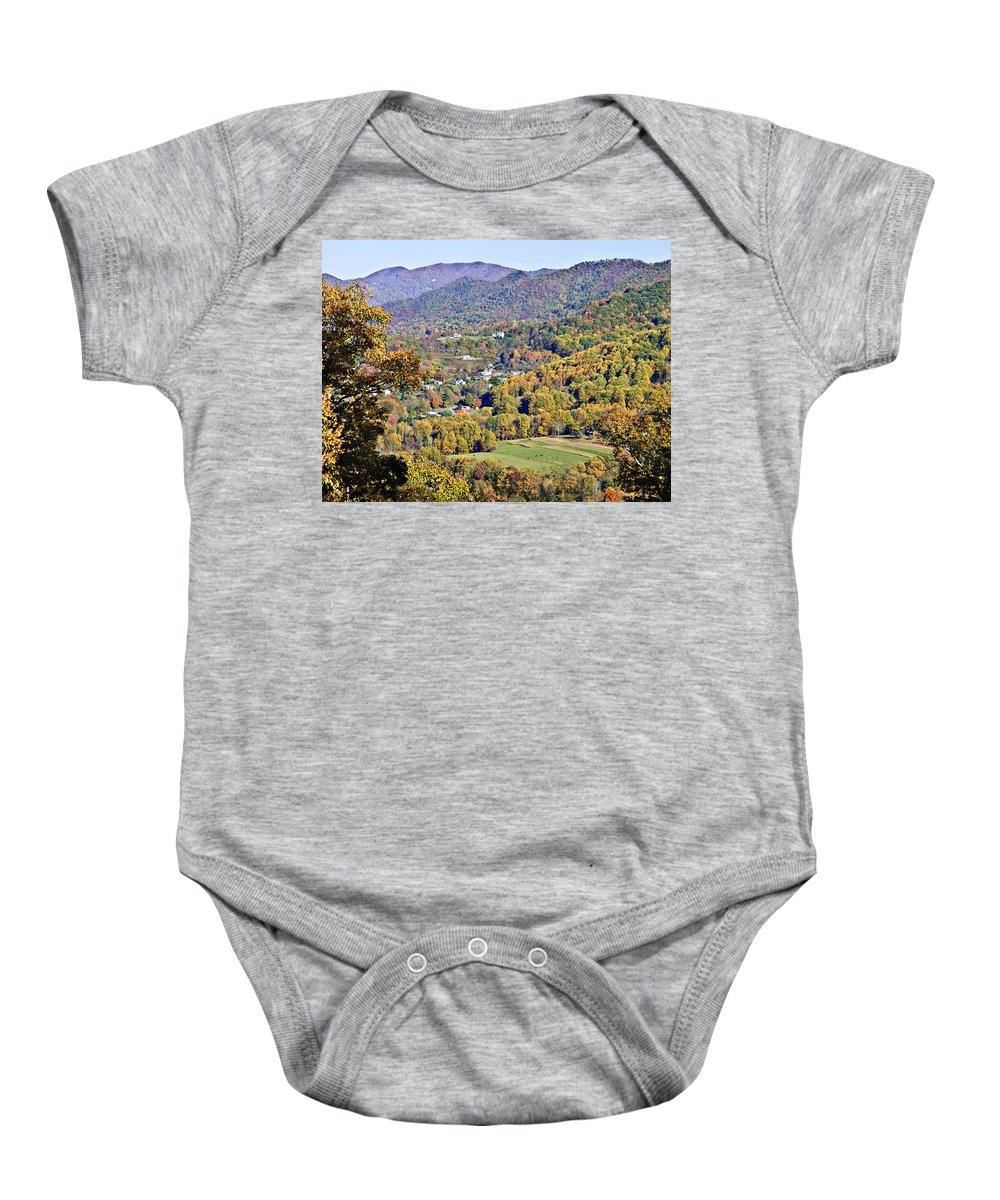 Landscape Baby Onesie featuring the photograph Colorful Autumn Valley by Susan Leggett