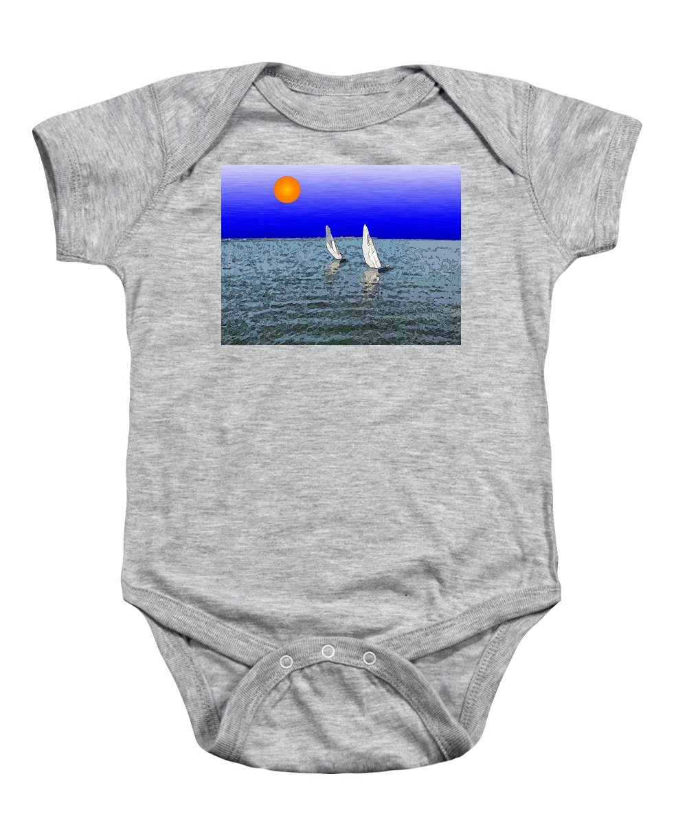 Sail Baby Onesie featuring the digital art Come Sail Away With Me by Tim Allen