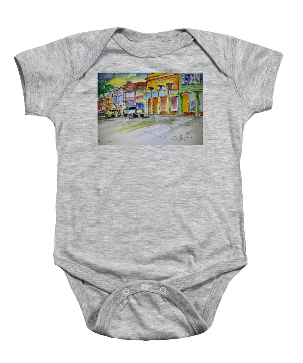 Town Baby Onesie featuring the painting Company Street by Diane Elgin