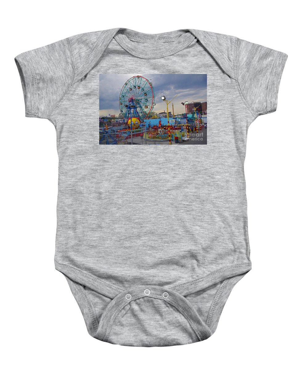 Coney Island Baby Onesie featuring the photograph Coney Island Amusements by Rich Walter