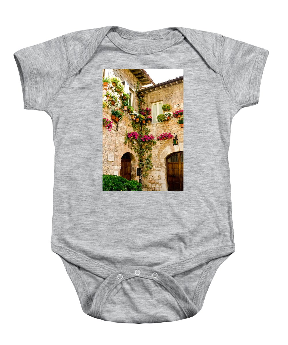 Colorful Flowers Baby Onesie featuring the photograph Corner Of Flowers by Jon Berghoff