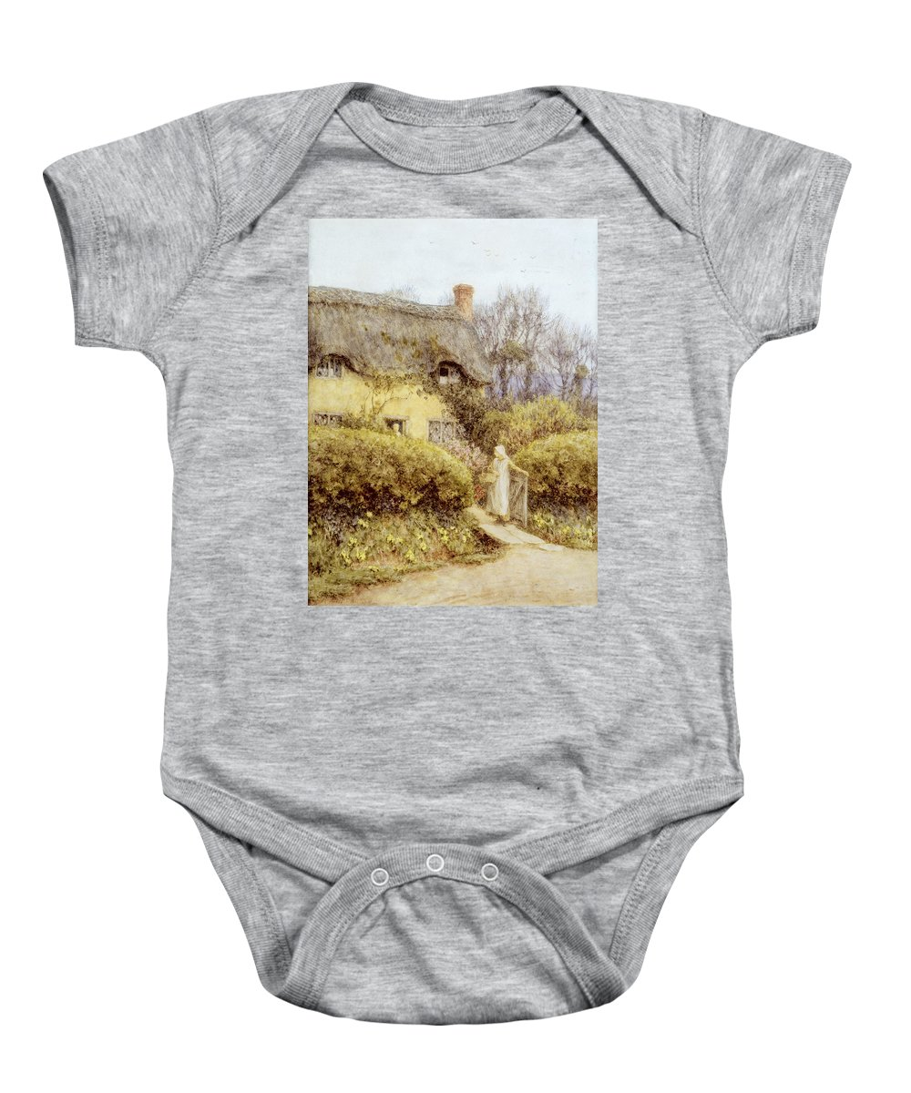 Apron Basket Baby Onesie featuring the painting Cottage Near Freshwater by Helen Allingham