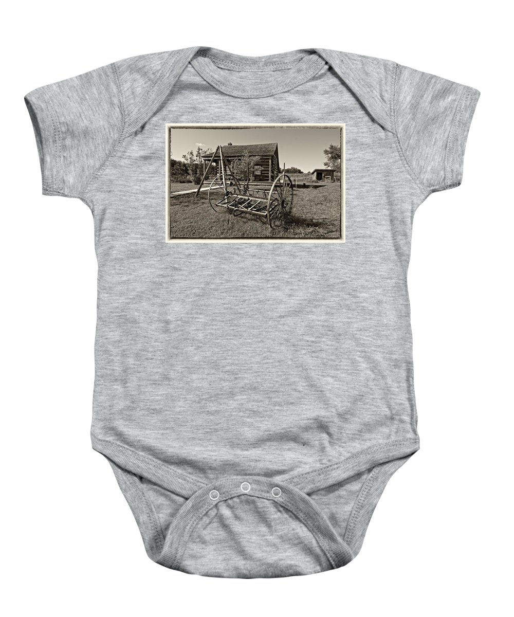 Grey Roots Museum & Archives Baby Onesie featuring the photograph Country Classic Monochrome by Steve Harrington