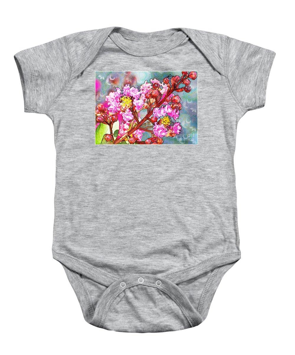 Nature Baby Onesie featuring the digital art Crape Myrtle Blank Greeting Card by Debbie Portwood