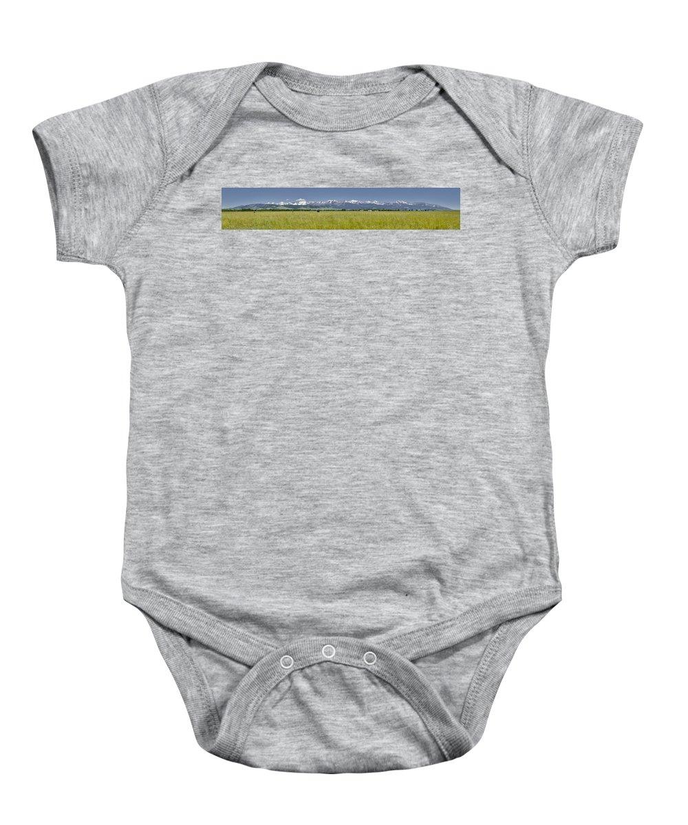 Americas Baby Onesie featuring the photograph Crazy Mountain Range by Roderick Bley