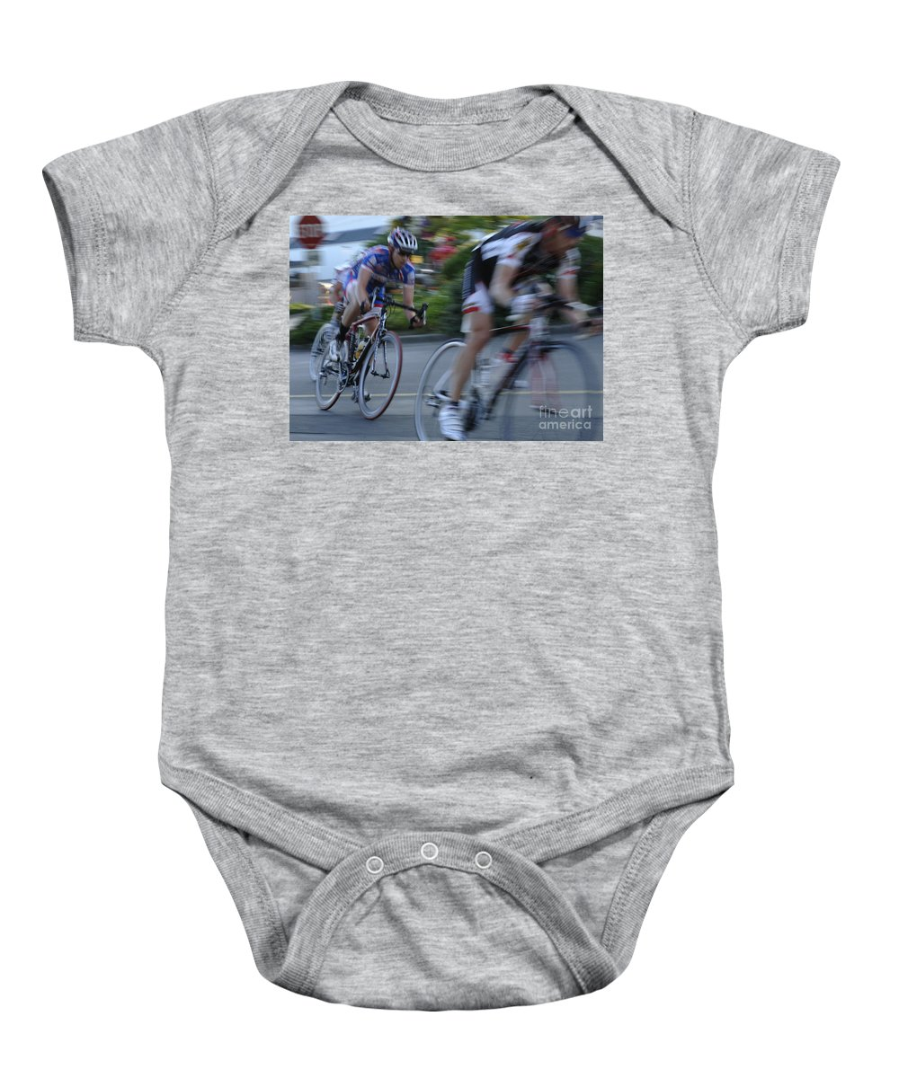 Criterium Baby Onesie featuring the photograph Criterium Bicycle Race 4 by Bob Christopher