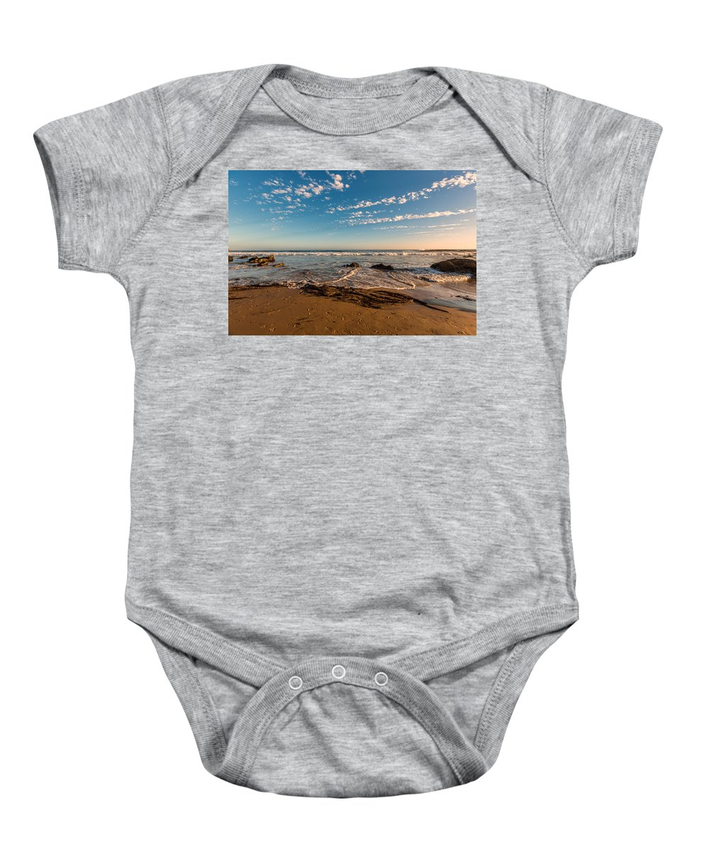 Crystal Cove Baby Onesie featuring the photograph Crystal Cove At Sunset 2 by Angela Stanton
