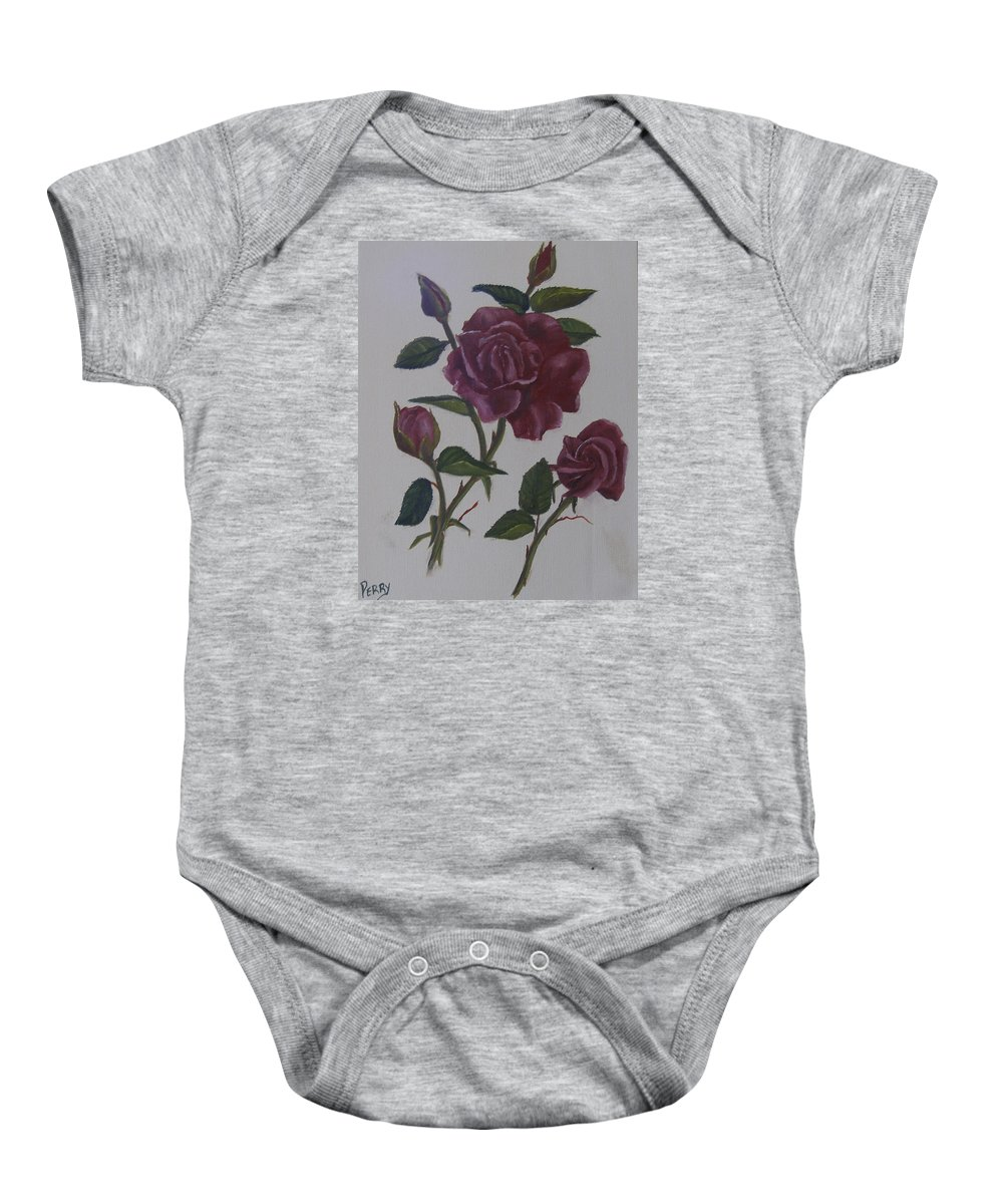Floral Baby Onesie featuring the painting Deep Red Roses by Mark Perry