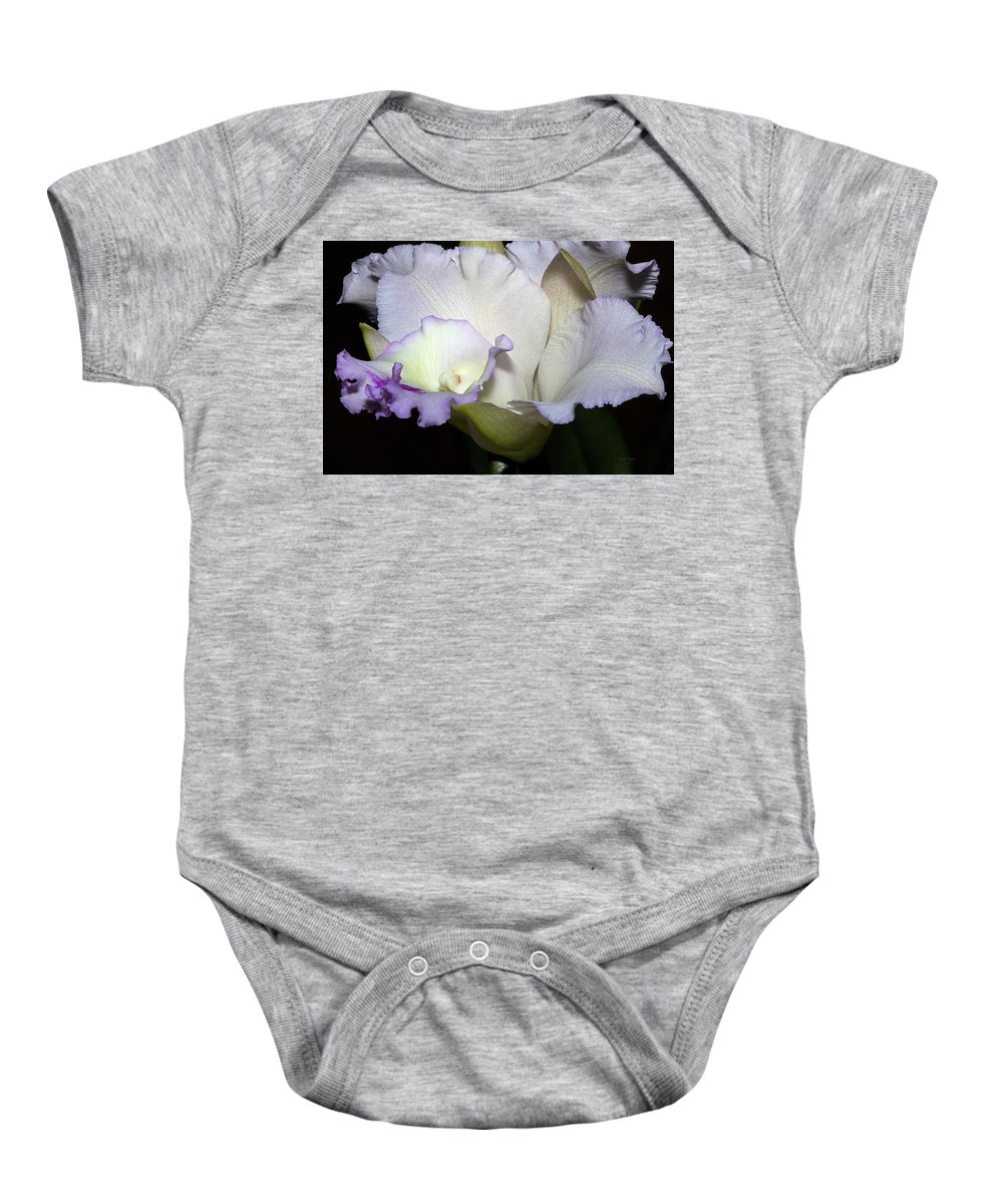 Orchid Baby Onesie featuring the photograph Delicate Purple Orchid by Phyllis Denton