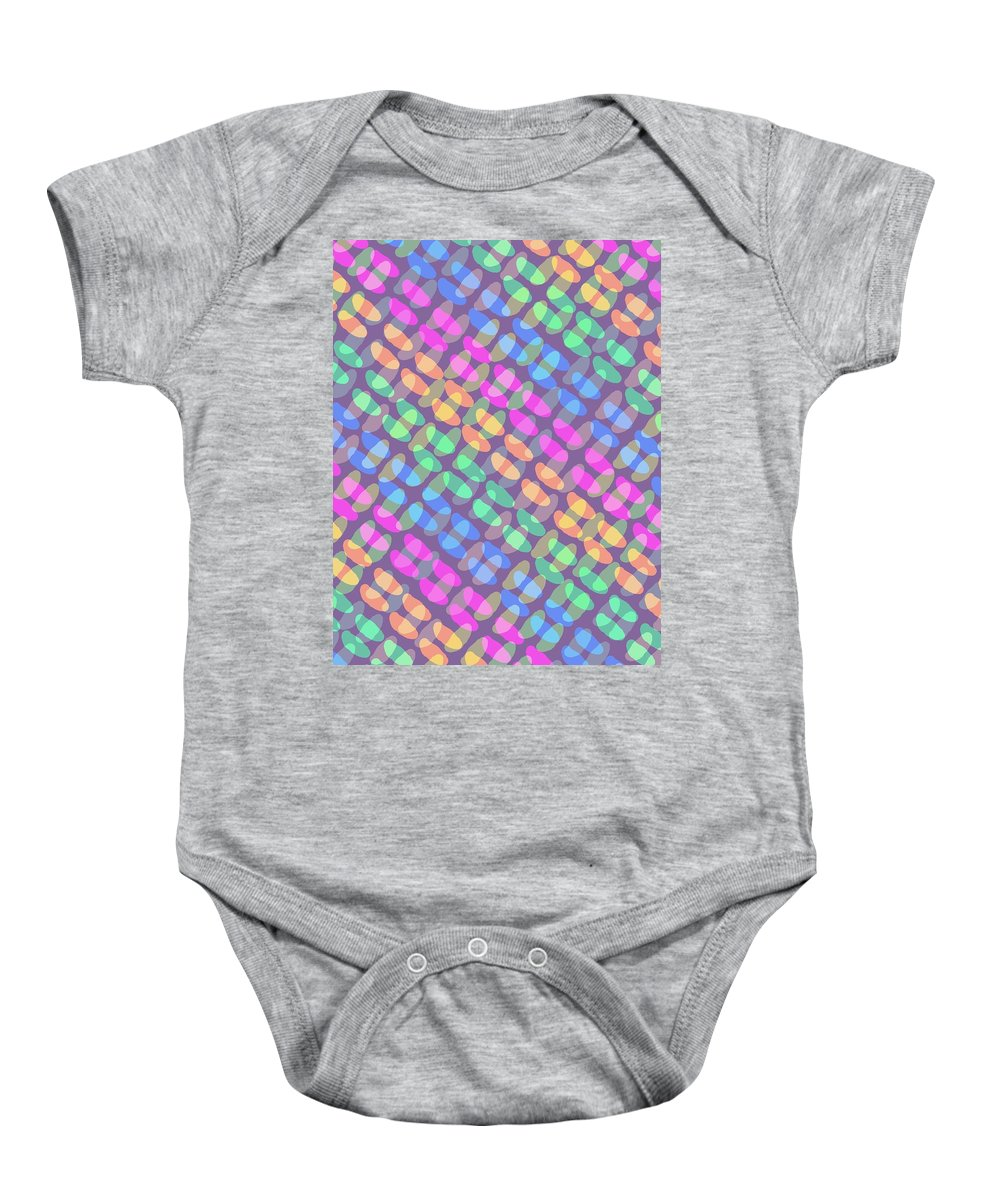 Dotted Check Baby Onesie featuring the digital art Dotted Check by Louisa Knight