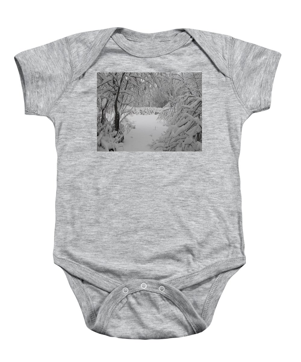 Snow Baby Onesie featuring the photograph Down The Path by Stephanie Kripa