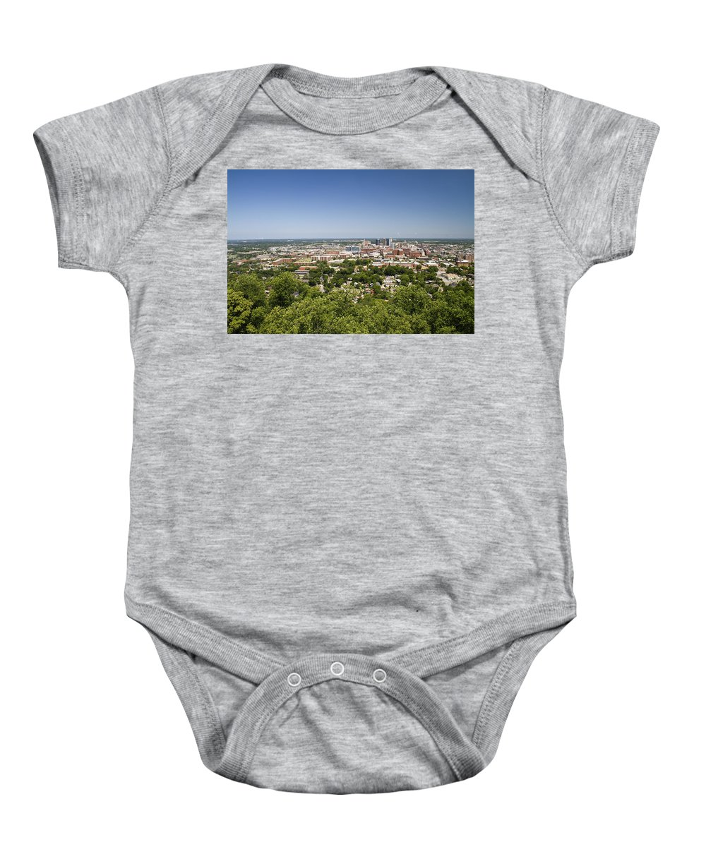 Birmingham Baby Onesie featuring the photograph Downtown Birmingham Alabama On A Clear Day by Kathy Clark