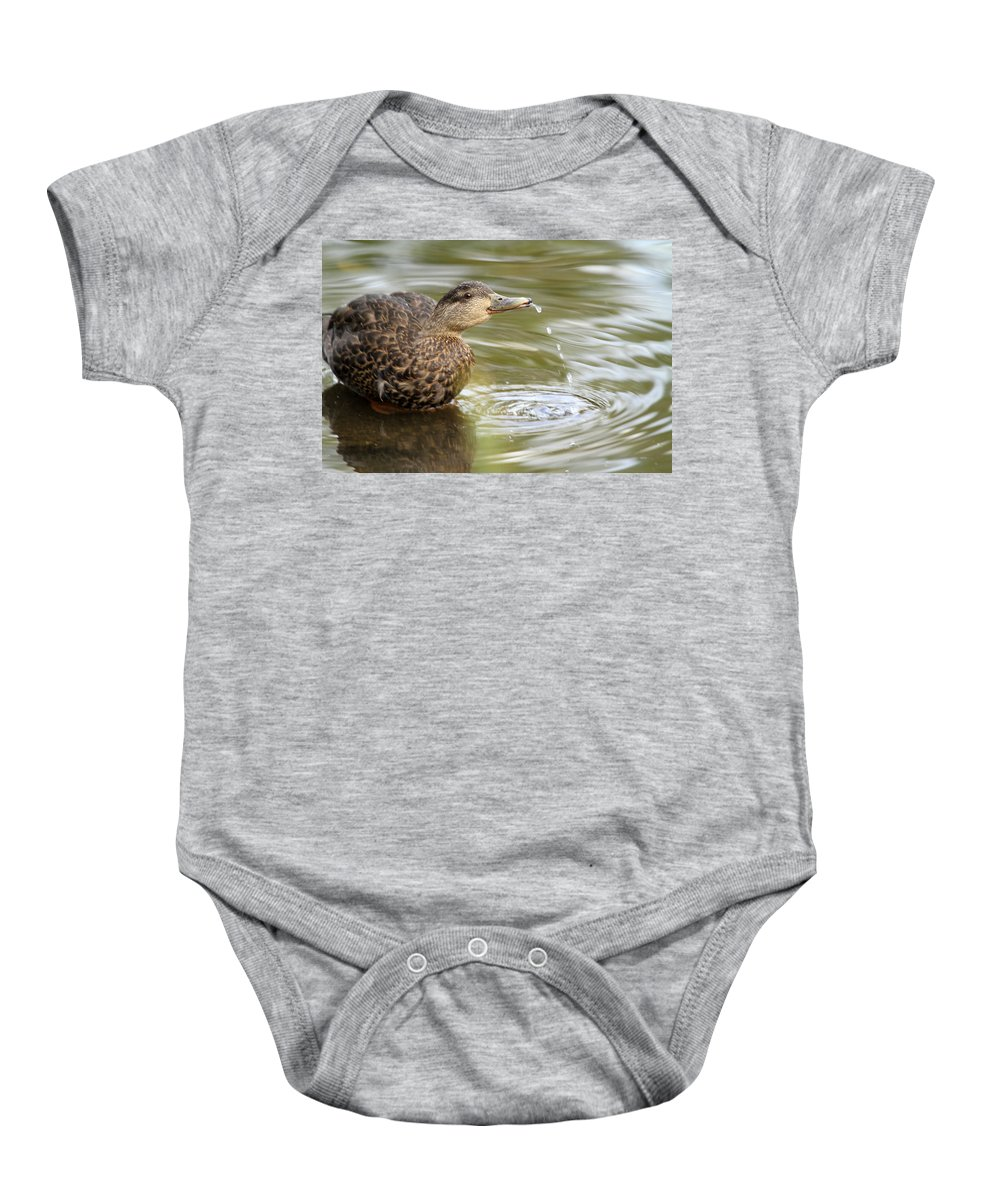 Duck Baby Onesie featuring the photograph Duck Spits by Karol Livote