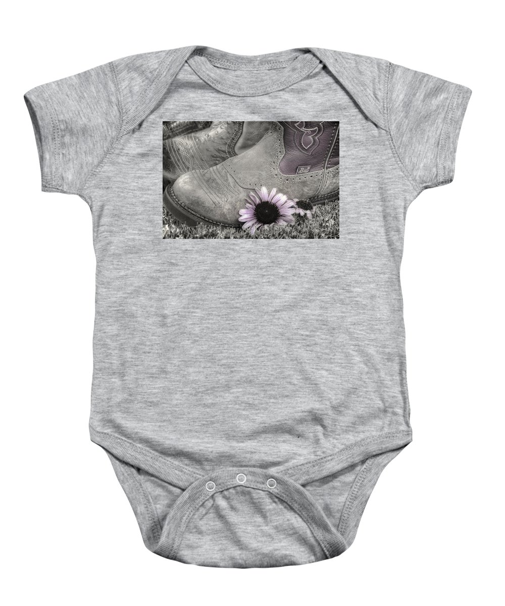 Clothing Baby Onesie featuring the photograph Dusky Megaboots by Joan Carroll
