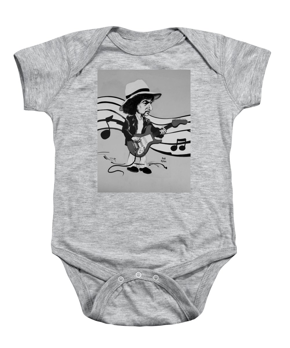 Bob Dylan Baby Onesie featuring the photograph Dylan In Black And White by Rob Hans