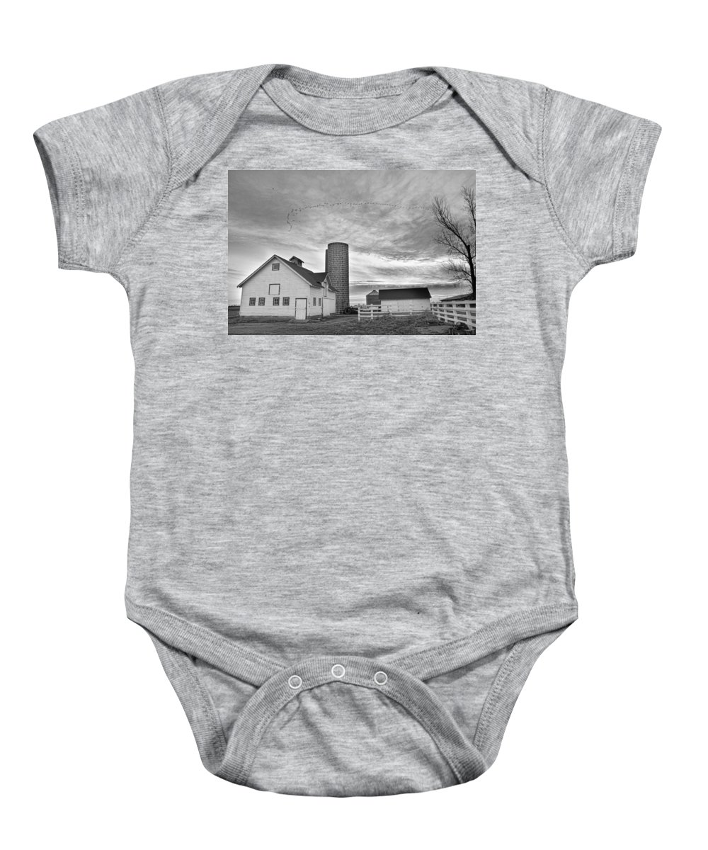 Barns Baby Onesie featuring the photograph Early Morning On The Farm Bw by James BO Insogna