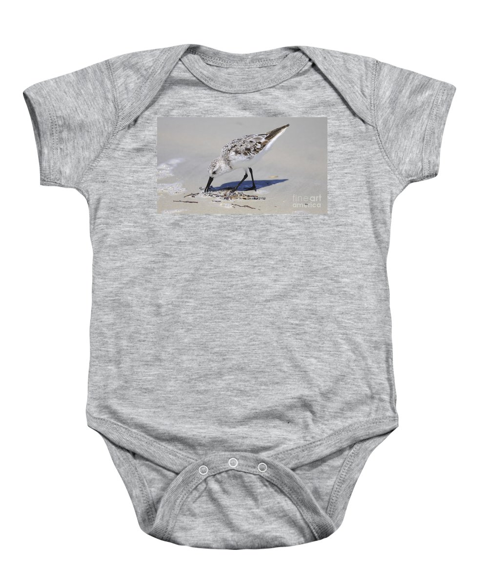 Bird Baby Onesie featuring the photograph Eating At The Shore by Deborah Benoit