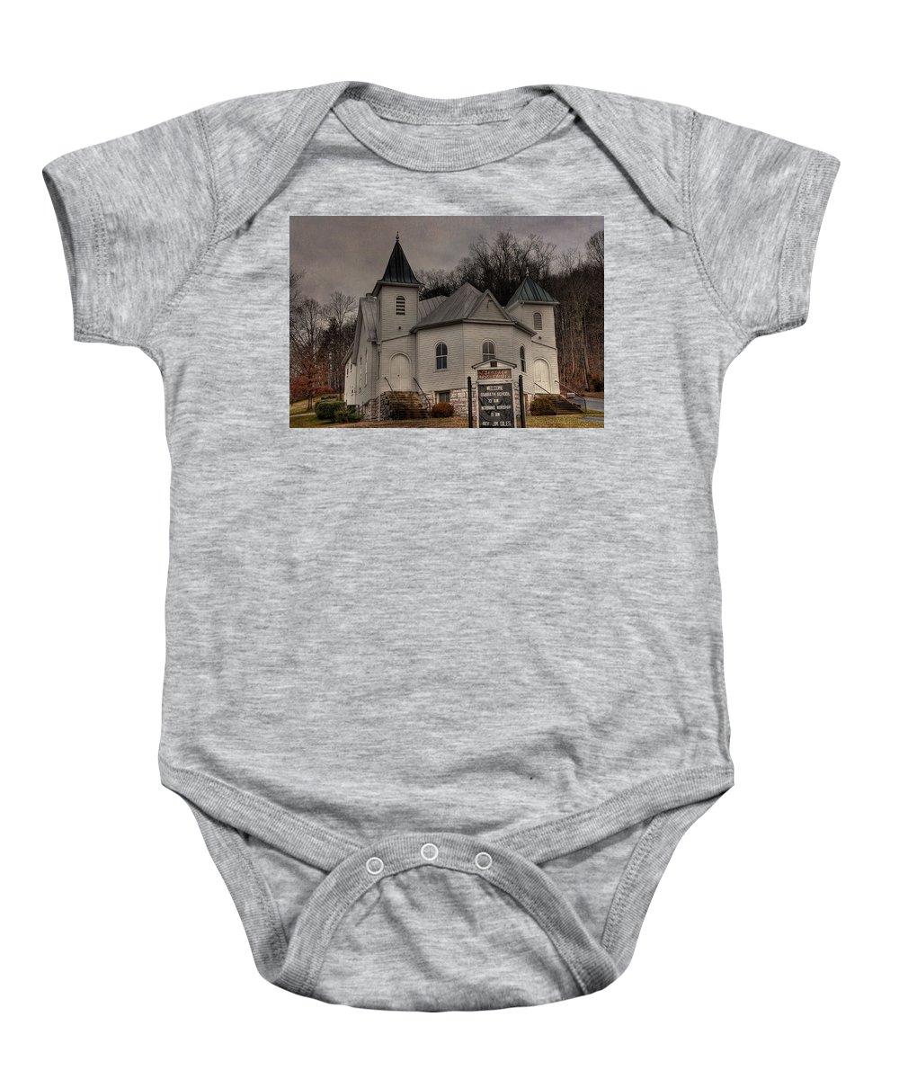 Ebenezer Arp Church Baby Onesie featuring the photograph Ebenezer Arp Church by Todd Hostetter