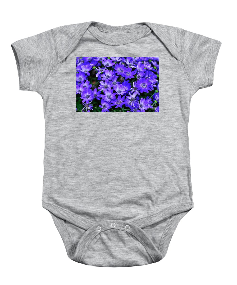 Photography Baby Onesie featuring the photograph Electric Indigo Garden by Kaye Menner