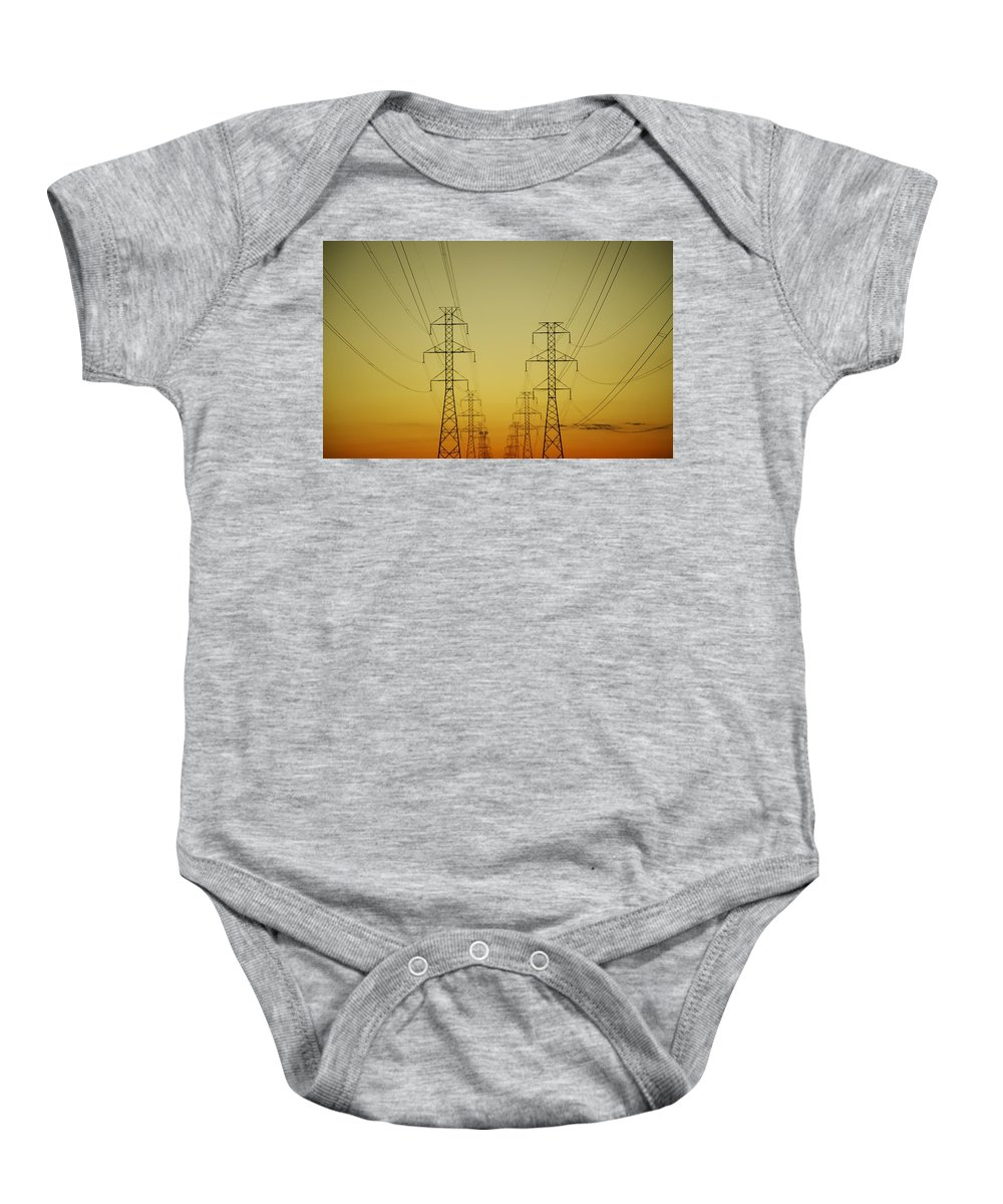 View Baby Onesie featuring the photograph Electricity Pylons by Kelly Redinger