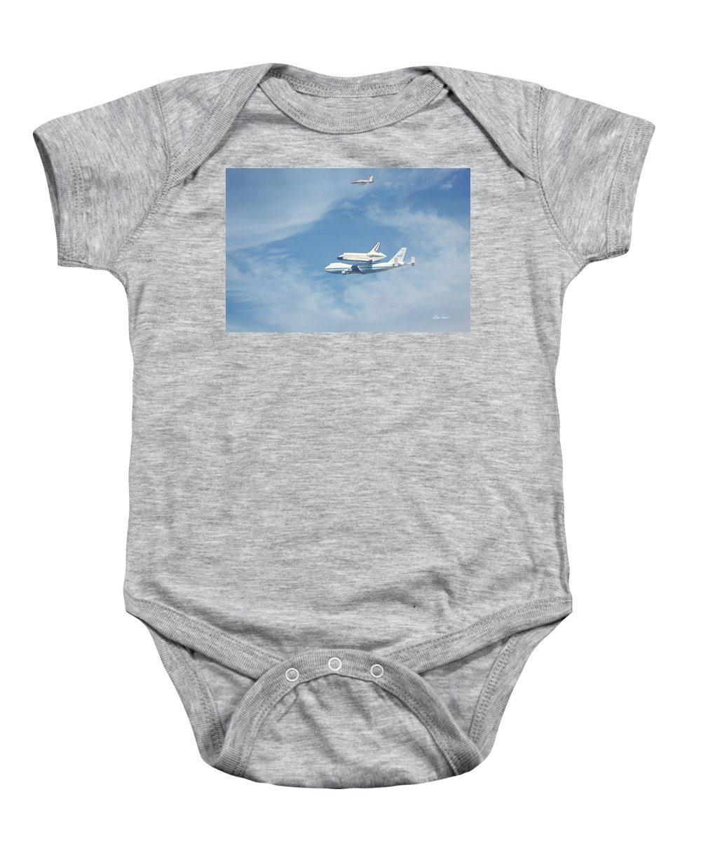 Endeavour Baby Onesie featuring the photograph Endeavour's Final Flight by Diana Haronis