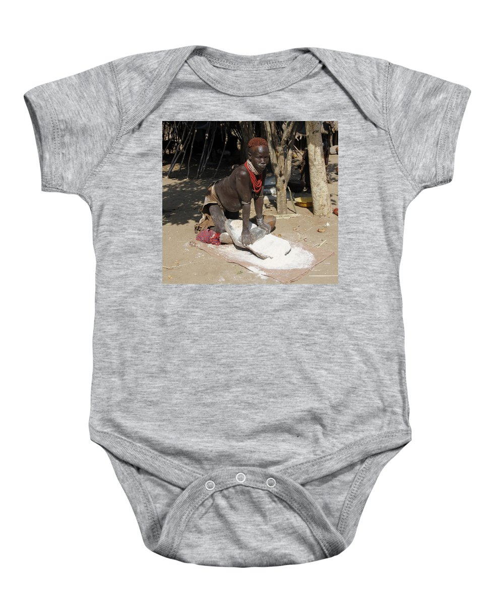 Africa Baby Onesie featuring the painting Ethiopia-south Tribesman No.1 by Robert SORENSEN