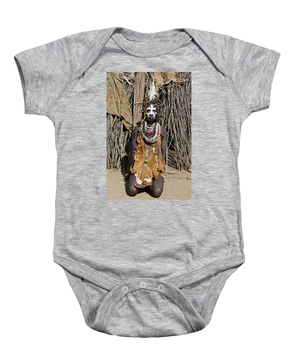 Ethiopia Baby Onesie featuring the painting Ethiopia-south Tribesman No.2 Detail A by Robert SORENSEN