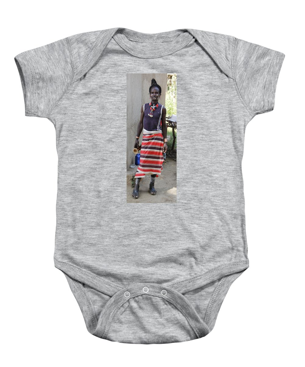 Africa Baby Onesie featuring the painting Ethiopia-south Tribesman No.3 by Robert SORENSEN