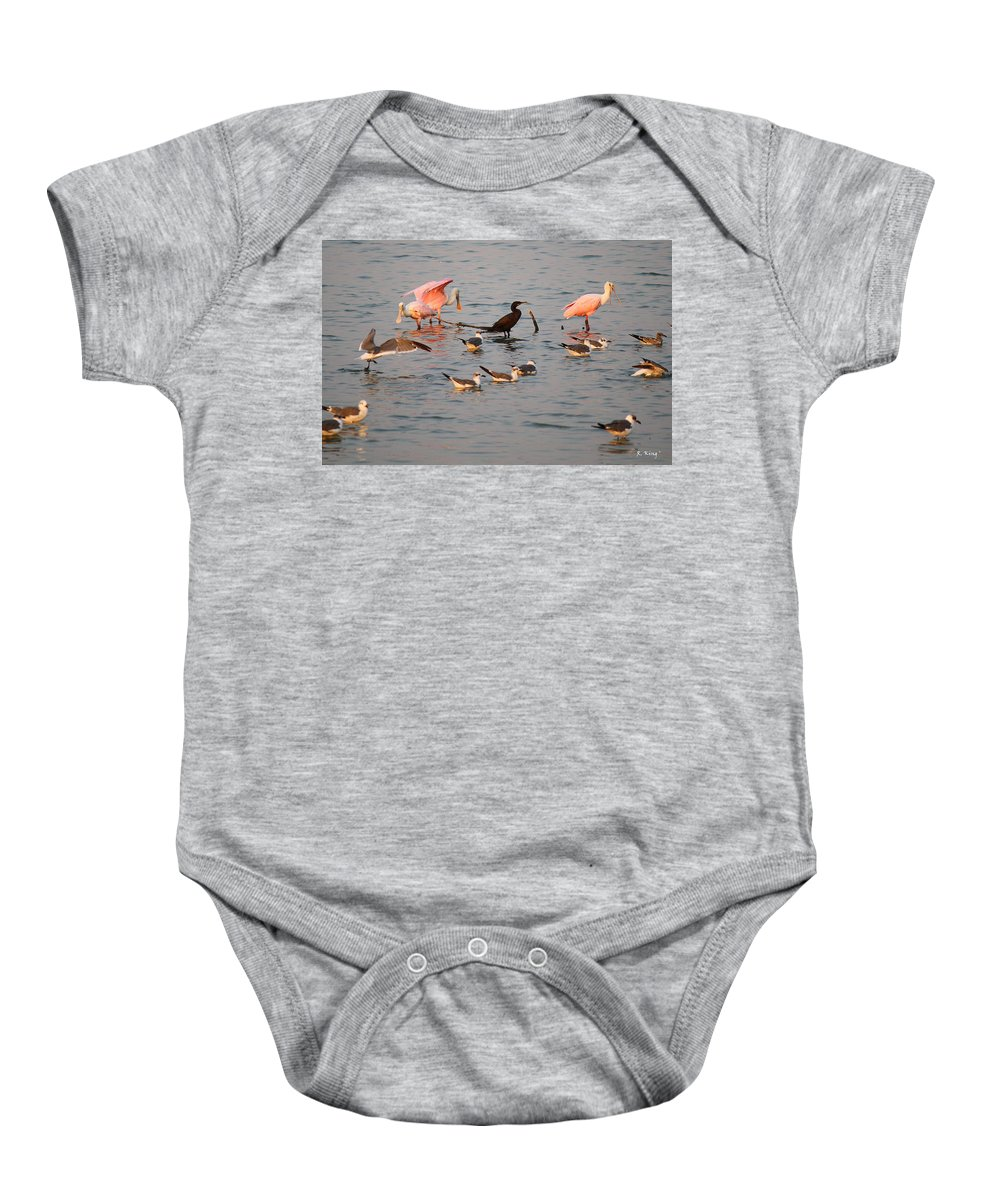 Roena King Baby Onesie featuring the photograph Evening Activity In The Bay by Roena King