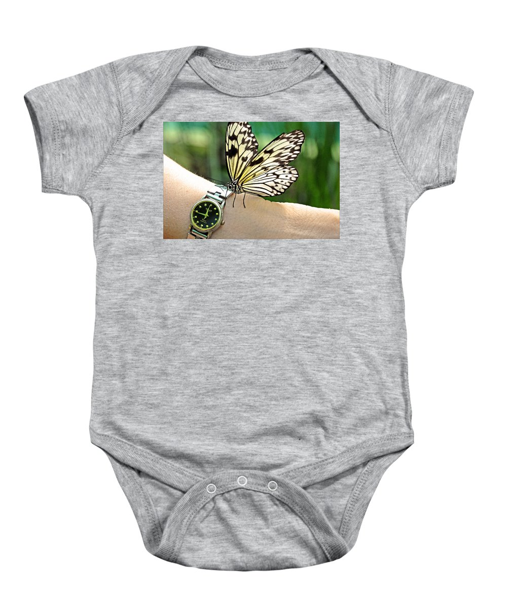 Jenny Rainbow Fine Art Photography Baby Onesie featuring the photograph Excuse Me What Time Is It Now by Jenny Rainbow
