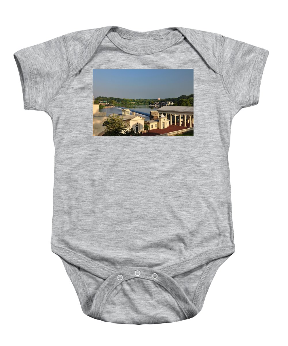 Fairmount Baby Onesie featuring the photograph Fairmount Waterworks And Dam by Bill Cannon