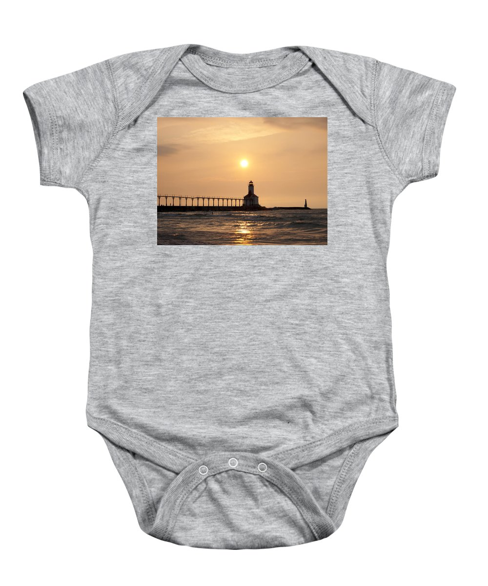 Lighthouse Baby Onesie featuring the photograph Falling On The Lighthouse by Scott Wood