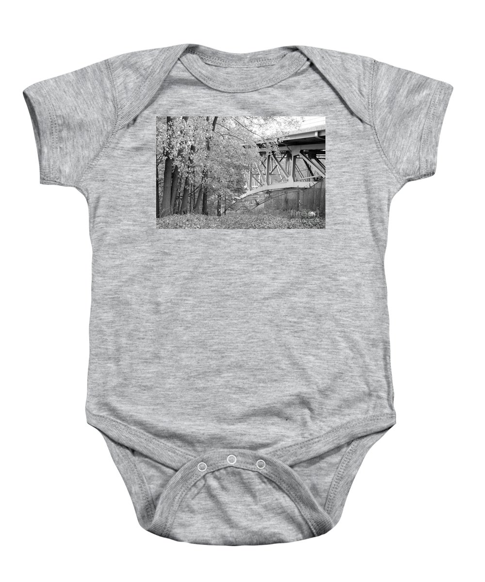 Fall Baby Onesie featuring the photograph Falling Under The Bridge by Trish Hale