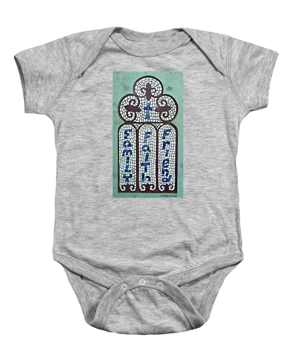 Family Baby Onesie featuring the painting Family Faith Friend by Cynthia Amaral