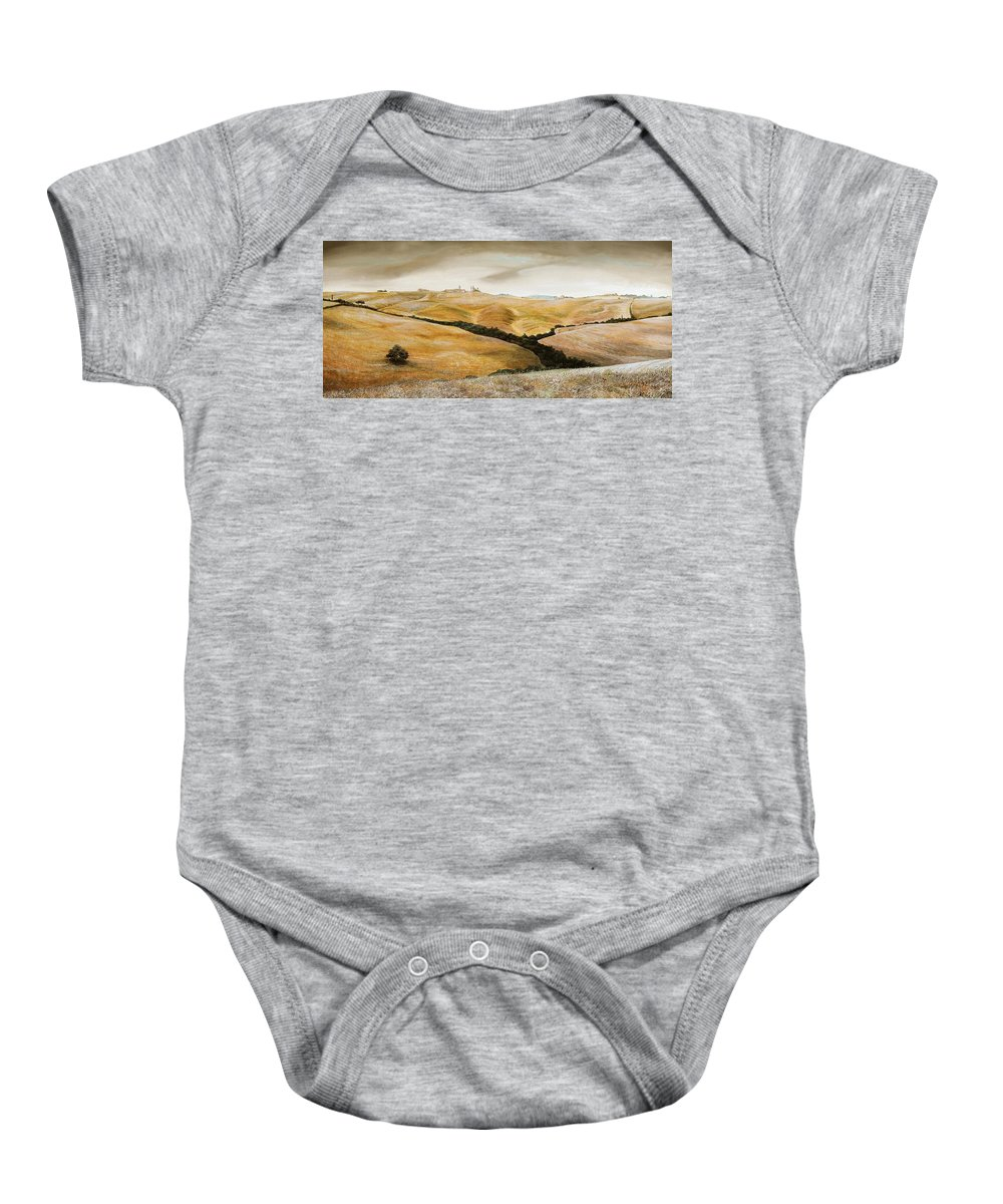 Italian; Tuscan; Rural; Italian Landscape; Agricultural; Fields; Hills; Farming; Tree; Trees; Agriculture; Toscane; Italy; Tuscany Baby Onesie featuring the painting Farm On Hill - Tuscany by Trevor Neal