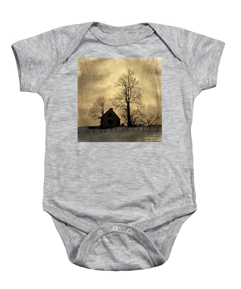 Architecture Baby Onesie featuring the photograph Farmhouse. Vintage-look Auvergne. France by Bernard Jaubert