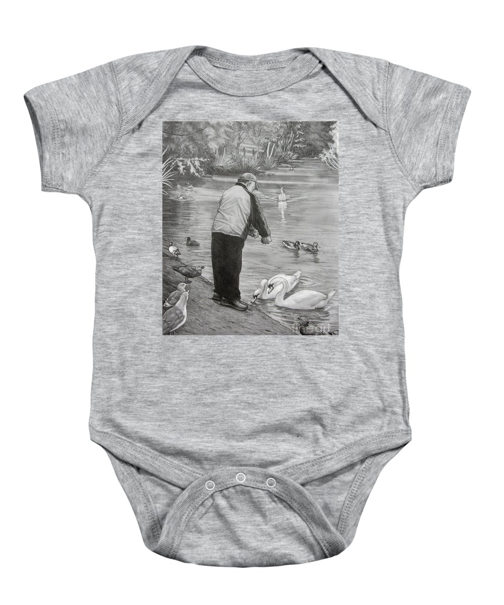 Drawing Baby Onesie featuring the drawing Feeding The Birds by Kim Hunter