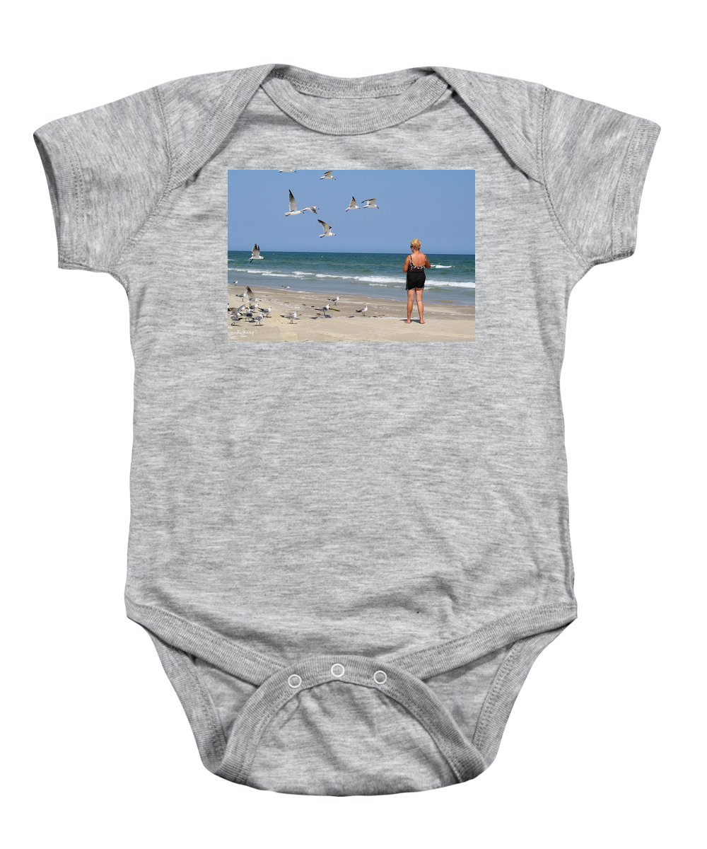 Roena King Baby Onesie featuring the photograph Feeding The Sea Gulls by Roena King